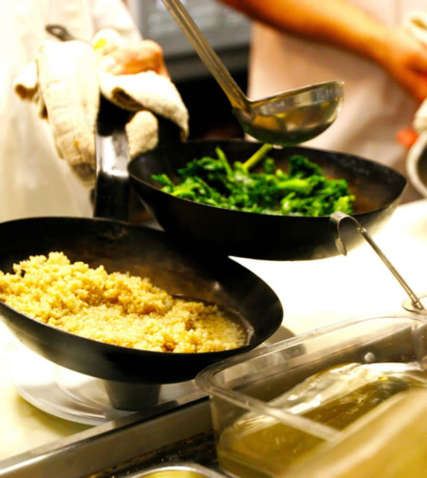 cooking couscous and broccolini